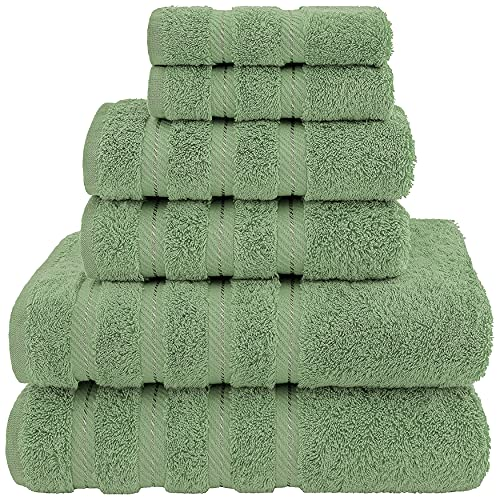 American Soft Linen Towel Set, 2 Bath Towels 2 Hand Towels 2 Washcloths Super Soft and Absorbent 100% Turkish Cotton Towels for Bathroom and Kitchen Shower Towel Sage Green