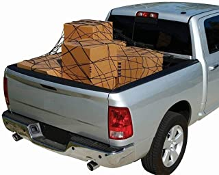 Heavy Duty Elastic Hold Tight Strap Rear Cargo Cover Net Mesh Bungee Barrier Security Secure Web Spider Storage Luggage Organizer Bed Tie Down Hooks for TRUCK PICKUP Compact Size 60