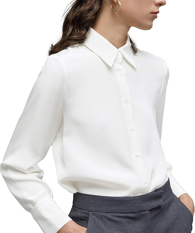Women's Botton Down Shirts Long Sleeve Collared Tops Lady Work Office Chiffon Blouse
