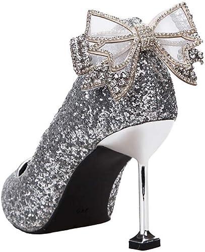 XLY Brillo de Las mujeres en Punta zapatos de tacón Alto Moda Vestido Bombas Nupcial Wedding Party Pumps,plata,36