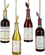 Kurt Adler Acrylic Wine Bottle Christmas Ornaments 4 Assorted