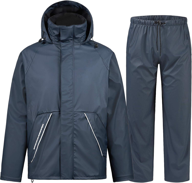 TOWN/&FIELD Rain Suits for Fishing Waterproof Rain Gear for Men Women Heavy Duty Rain Coat Jacket with Pants// Overalls