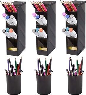 طقم منظم مكتب مكون من 6 قطع من سيتاك ، حامل تخزين متعدد الوظائف وقلم رصاص للمكتب، والمدرسة، واللوازم المنزلية (أسود شفاف)