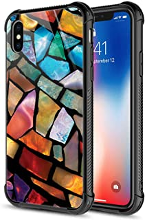 iPhone XR Case,Stained Glass Mosaic Fiesta Fun iPhone XR Cases, Tempered Glass Back+Soft Silicone TPU Shock Protective Case for Apple iPhone XR Stained Glass Fun