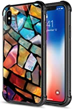 iPhone Xs Max Case,Stained Glass Mosaic Fiesta Fun iPhone Xs Max Cases, Tempered Glass Back+Soft Silicone TPU Shock Protective Case for Apple iPhone Xs Max Stained Glass Fun