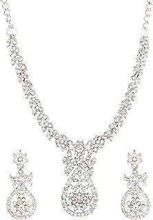 Efulgenz Crystal Austrian Diamond Choker Necklace Earrings Wedding Indian Jewelry Set for Women Girls, White