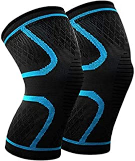 1 Piece Knee Brace Support Compression Sleeve Wraps Pads 1 Pair Knee Protector for Men & Women For Running Fitness Blue Si...