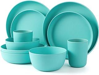 LEKOCH Juego de vajilla ecológica de bambú de 10 piezas para picnic, barbacoa, festival, campamento, juego de fiesta con plato para servir, plato de ensalada, tazón de sopa y taza para 2
