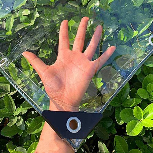 Lona de poliéster transparente a prueba de lluvia para jardín, cubierta de lluvia transparente de lona multifunción para exteriores de 0,5 mm, cortina de lluvia de balcón de vidrio suave de PVC grue