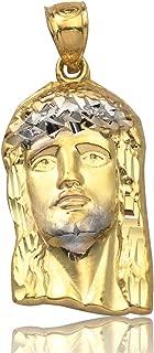 10K Yellow Gold Two-Tone Jesus Head Pendant Charm (1.00