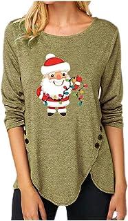 OverDose Boutique Overdose Damen Oberteile Rundhals Langarm Shirt Weihnachten Gedruckt Outfits T-Shirt Tops Unregelmäßiger Saum Streetwear Blusen
