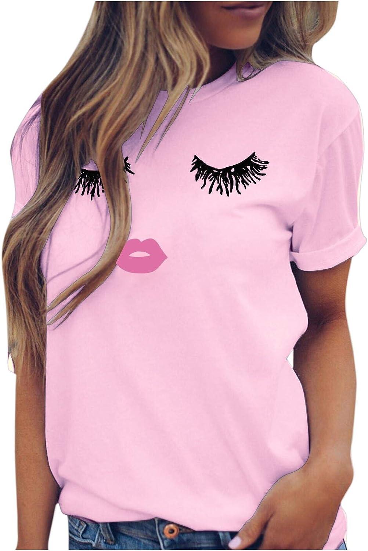 VEKDONE Women Summer Short Sleeve Cute T-Shirts Funny Eyelash Lip Print Graphic Tees Tops Blouse Plus Size