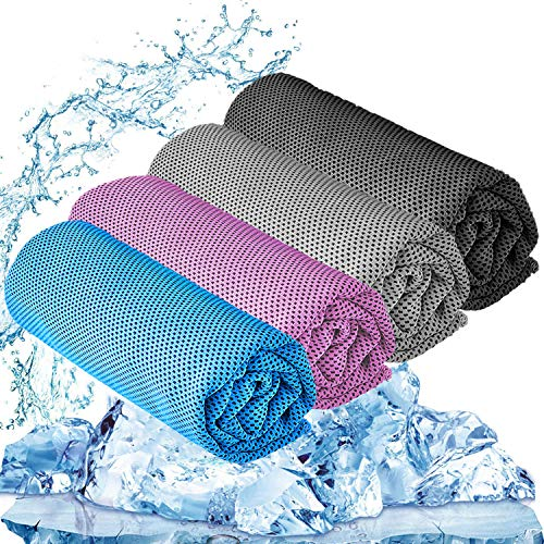 """YQXCC 4 Pcs Cooling Towel (47""""x12"""") Cool Cold Towel for Neck, Microfiber Ice Towel, Soft Breathable Chilly Towel for Yoga, Golf, Gym, Camping, Running, Workout & More Activities"""