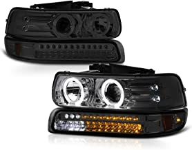 VIPMOTOZ Chrome Smoke LED Halo Ring Projector Headlight + LED Strip Front Bumper Parking Signal Lamp Assembly Replacement For 1999-2002 Chevy Silverado 1500 2500 3500 & 2000-2006 Tahoe Suburban