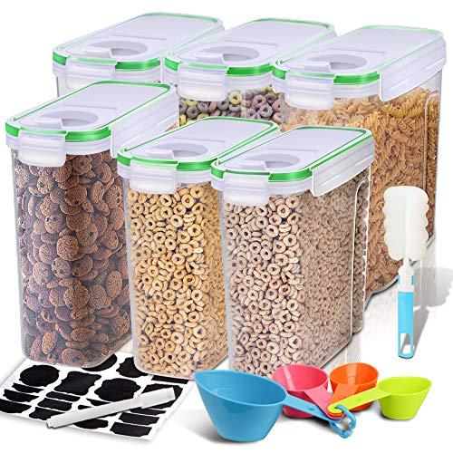 EAGMAK Frischhaltedosen, luftdicht, BPA-frei, groß, für Mehl, Snacks, Nüsse und mehr (grün, 6 Stück)