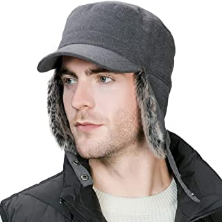 Sponsored Ad – Fancet Winter Faux Fur Earflap Trapper Hunting Hat Military Army Cap with Ear Flaps Warmer Quilted Thick Li...