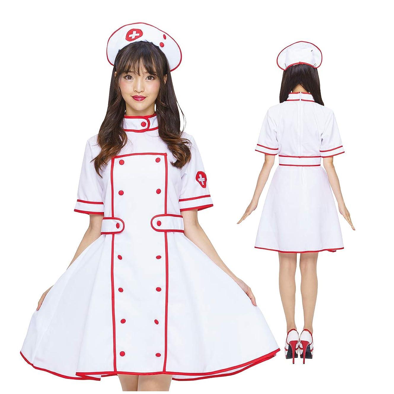 人物特徴工夫するコスプレ ナース服 ホワイト レッド ライン 白 赤 制服 女医 ハロウィン 医者 ナース ドクター ワンピース 衣装