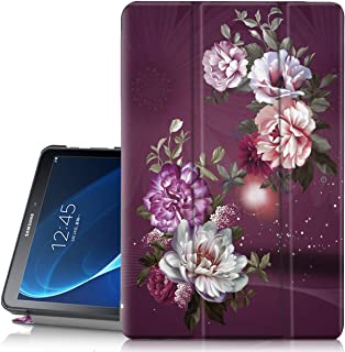 Hocase Galaxy Tab A 10.1 (SM-T580) 2016 Case, PU Leather Case w/Flower Design, Auto Sleep/Wake Feature, Hard Back Cover for Galaxy Tab A 10.1