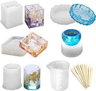 Epoxy Resin Silicone Molds, Large Art Resin Molds for Coaster/Ashtray/Flower Pot/Pen Candle Soap Jewelry Holder, Includes Round/Square Ashtray, Cylinder, Cube, Bowl, Mixing Cup and Wood Sticks