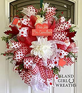 Canada Day Wreath, Deco Mesh Canadian Wreath, Canadian Décor, Red and White Wreath, Patriotic Canadian Wreath, Canada Patriotic Wreath