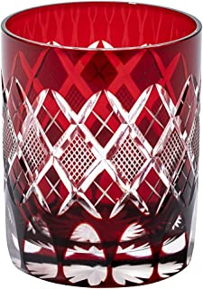 江戸切子 矢来魚子紋 オールドグラス(赤)TB90415R 木箱入り 太武朗工房直販 日本製