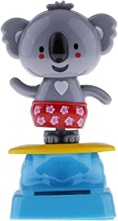 Daiso Japan Cute Solar Powered Dancing Sumo and Koala Bear Desk and Dashboard D/écor Black Gray Red Set of 2