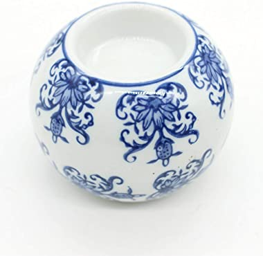 Porcelain Candle Holder Tealight Candleholders Blue and White Decorative Chinoiserie Decor (B7)
