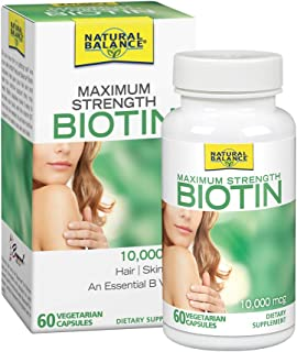 Natural Balance Biotin 10,000 mcg | Healthy Hair Supplement | Skin Health & Strong Nails Support | 60 VegCaps, 60 Serv.
