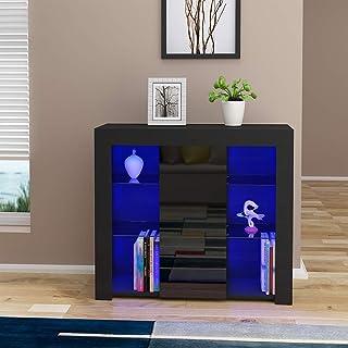 Commode de LED Meuble de Rangement en MDF+ Bois avec 1 Porte surSalon, Chambre, Bureau, 94 x 35 x 83 cm (Noir)