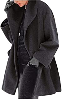 neveraway Women's Plus-Size Warm Open Front Fall Winter Wool Blend Tops Outwear