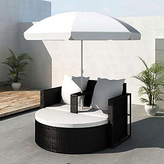 UnfadeMemory Conjunto de Sofás Exterior de Jardín con Sombrilla y Cojines,Cama de Jardín Terraza Exterior,Ratán Sintético (Negro)