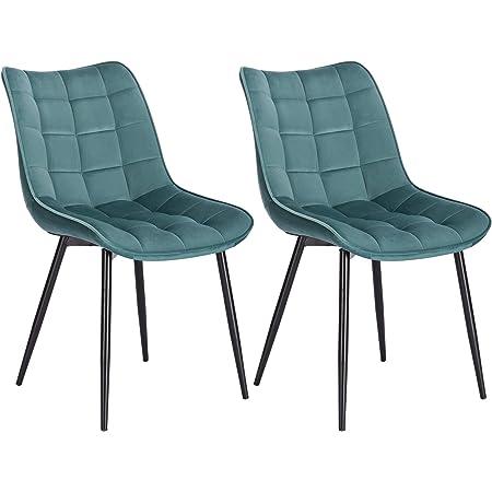 WOLTU BH142ts-2 Chaise de Salle à Manger Lot de 2 Chaise de Cuisine Assise rembourrée en Velours Pieds en métal Stable,Vert Turc