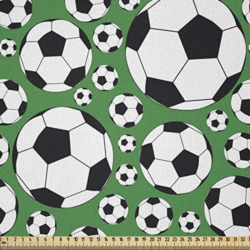ABAKUHAUS Fútbol Tela por Metro, Deportes Populares Motif, Microfibra Decorativa para Artes y Manualidades, 1M (230x100cm), Verde Negro Blanco