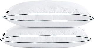 Amazon Brand - Umi Paire d'oreillers en Duvet et Plumes à Bords de Losange Ovale Housse en Coton 46x66x5cm