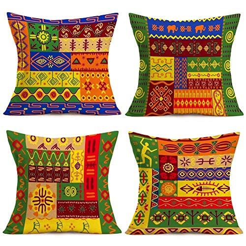 375 Fundas de cojín decorativas étnicas de la tribu africana, estilo vintage, colorido, decoración de sofá, funda de almohada de algodón y lino (estilo indio)