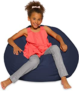 Posh Creations Structured Comfy Bean Bag Chair For Gaming, Reading, And Watching TV, Traditional Large Round, Soft Nylon-Navy