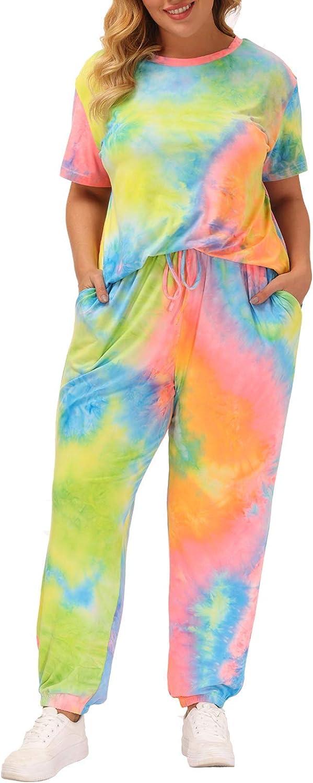 Tie Dye Lounge Sets for Women Plus Size Short Sleeve Tops and Pants Joggers Pajamas Set Sleepwear