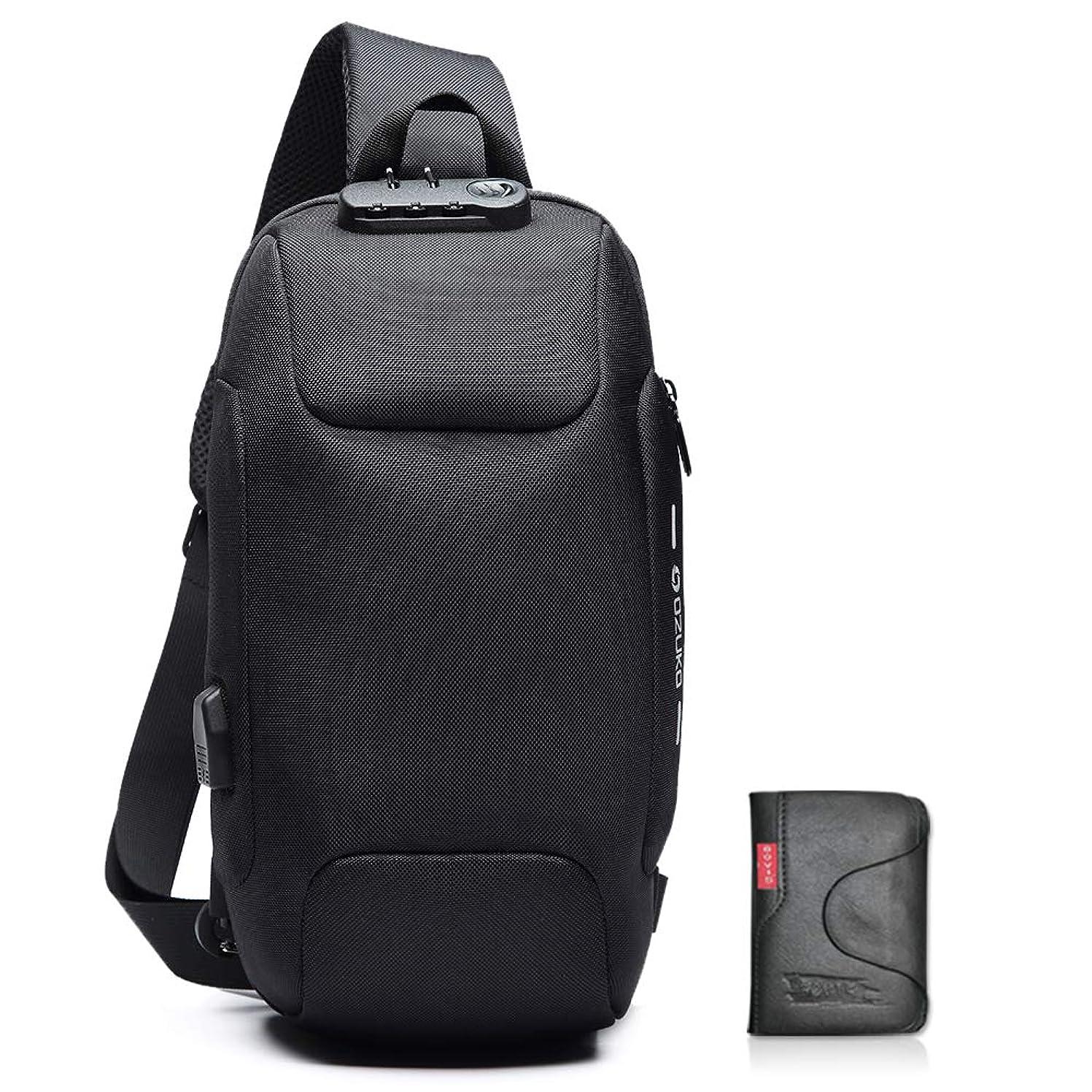 出口ぶどう慰めボディバッグ メンズ USB ショルダーバッグ 大容量 軽量 防水 ワンショルダー 斜め掛けバッグ