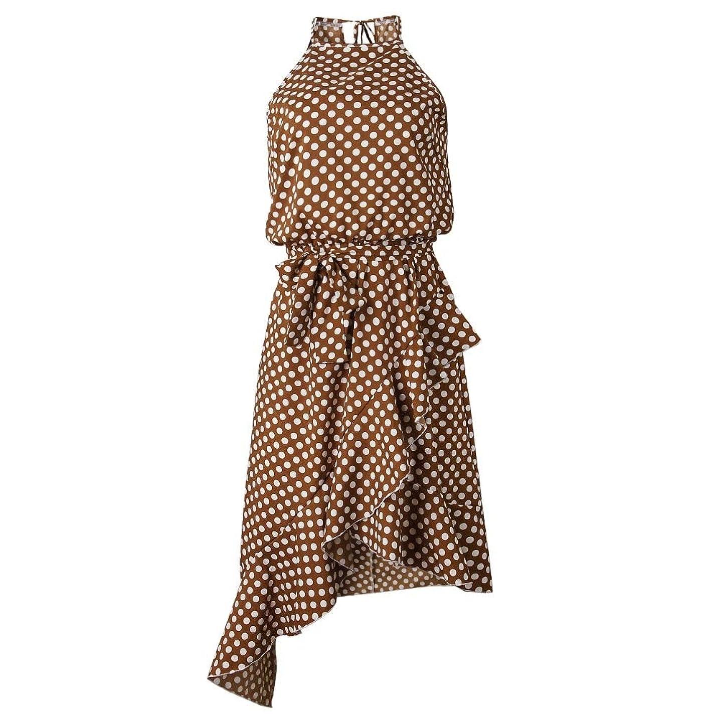 Maxcrestas - 夏のドレスの女性の新しいファッションホルターポルカドットプリントカジュアルドレスレディースフリルエレガントなドレス
