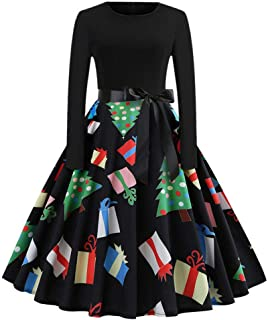 GREFER Women Long Sleeve Dress Vintage Pumpkins Evening Prom Costume Swing Dress Halloween Christmas St Patricks Day