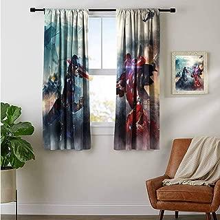 ZhiHdecor Customized Curtains Captain America Iron Man eo Digital Draft Pattern Technoogy Curtains