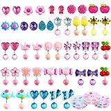 Aneco 24 accoppiamenti orecchini a clip cristallo ragazze giocano principessa orecchini a clip orecchini set per favore del partito Pranzo in 3 Clear Box con diversi stili
