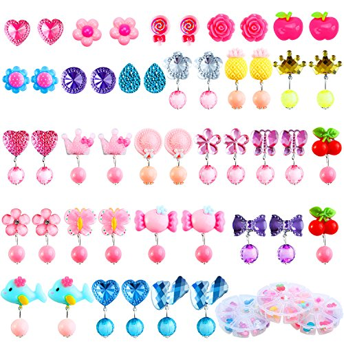Aneco 24 Pairs Clip-on Crystal Earrings Play Earrings Princess Clip on Earrings Set for Party Favor Packed in 3 Clear Boxes
