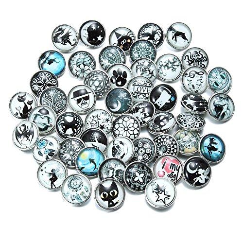 Soleebee Gemischt zufällig Glas Aluminium Leuchtend Click Button fit 5.5mm-Knopfloch Schmuck Charms Set 50 Stück