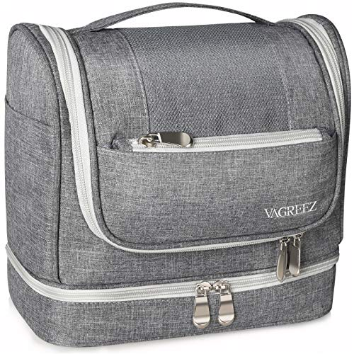 Toiletry Bag, VAGREEZ Upgraded Hanging Travel Toiletry Organizer Kit with Heavy-duty Zippers Waterproof Comestic Bag Dop Kit for Men or Women (Light-Grey)
