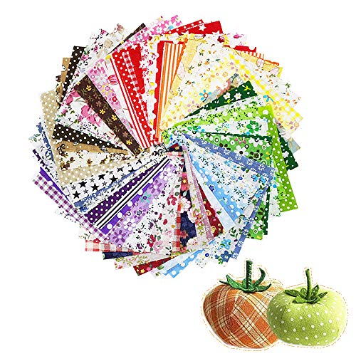 """60 Pcs 4"""" x 4""""(10cm x 10cm) Assorted Craft Fabric Bundle Squares Patchwork Fabric Sets for DIY Sewing Scrapbooking Quilting Dot Pattern"""