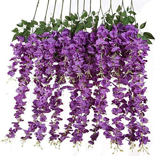 YYHMKB 12 unids / Lote 3,6 pies / Pieza Flores Artificiales Falsas Wisteria Vine Flor de Seda para Decoraciones de Boda hogar jardín Fiesta decoración púrpura