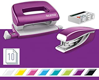 Leitz 55612062 Mini Stapler and Hole Punch Set, Staple or Punch Up to 10 Sheets, Includes P2 N°10 Staples, Wow Range, Purple
