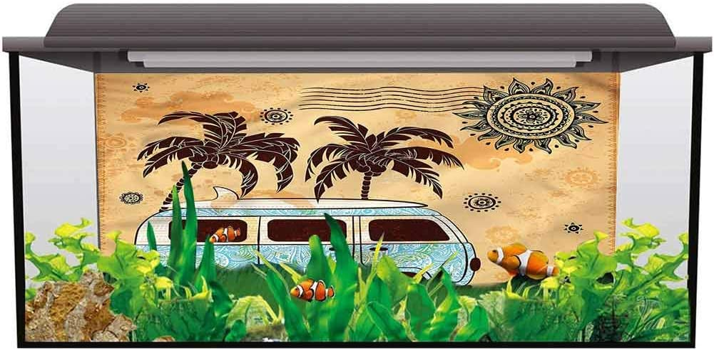 Fish Tank Background Poster Decoration Paper Vintage Hawaii,Happy Music Festival Underwater Backdrop Image Decor