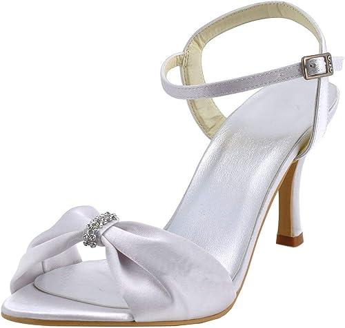 ZHRUI GYMZ653 Chaussures de Mariage Mariage mariée Open Toe à Talons Hauts en Satin Bowknot (Couleuré   Ivory-9cm Heel, Taille   7.5 UK)  vente discount en ligne